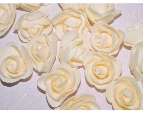 Роза 35 мм из фоамирана, цв. кремовый - 1 шт.