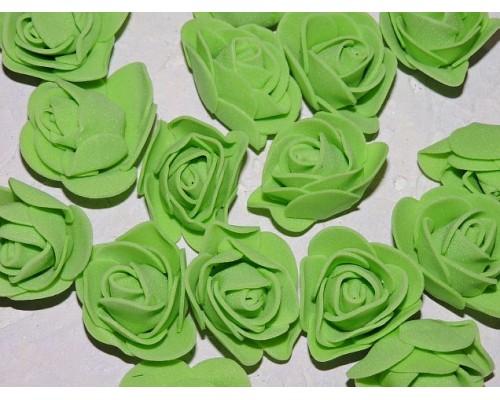 Роза 35 мм из фоамирана, цв. салатовый - 1 шт.