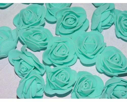 Роза 35 мм из фоамирана, цв. бирюза - 1 шт.