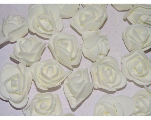 Роза 35 мм из фоамирана, цв. молочный - 1 шт.
