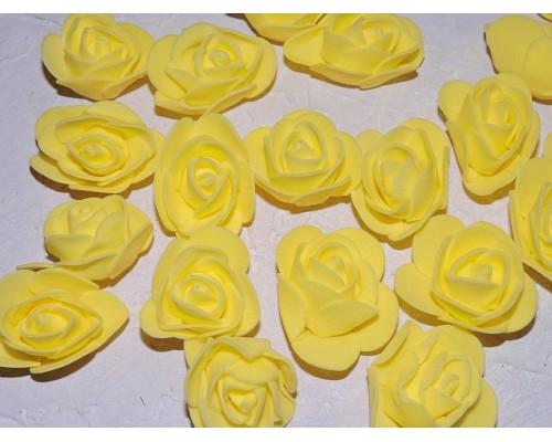 Роза 35 мм из фоамирана, цв. желтый - 1 шт.