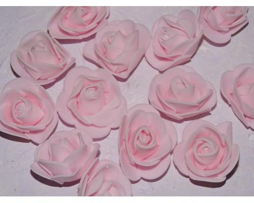 Роза 35 мм из фоамирана, цв. светло-розовый - 1 шт.