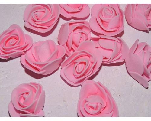 Роза 35 мм из фоамирана, цв. розовый - 1 шт.