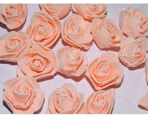 Роза 35 мм из фоамирана, цв. светло-персиковый - 1 шт.