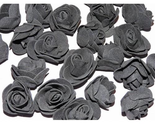 Роза 35 мм из фоамирана, цв. черный - 1 шт.