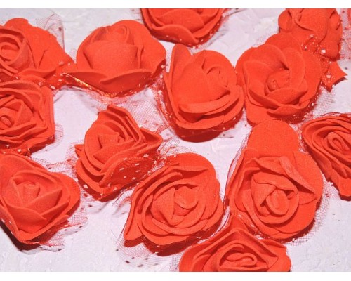 Роза 40 мм из фоамирана и органза, цв. красный - 1 шт.