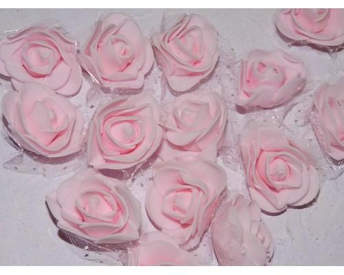 Роза 40 мм из фоамирана и органза, цв. розовый - 1 шт.