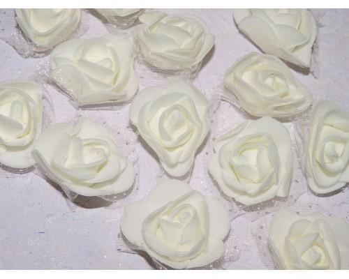 Роза 40 мм из фоамирана и органза, цв. кремовый - 1 шт.