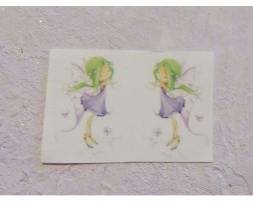 """Термонаклейка """"Фея с зелеными волосами"""" высота - 2,5 см (пара)"""