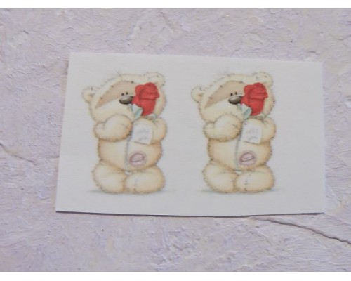 """Термонаклейка """"Мишка с розой"""" высота - 2.5 см, ширина - 1,5 см (пара)"""