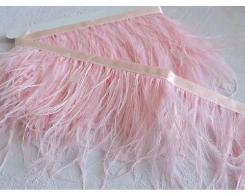 Перья страуса на ленте, цв. розовый  - отрез 25 см