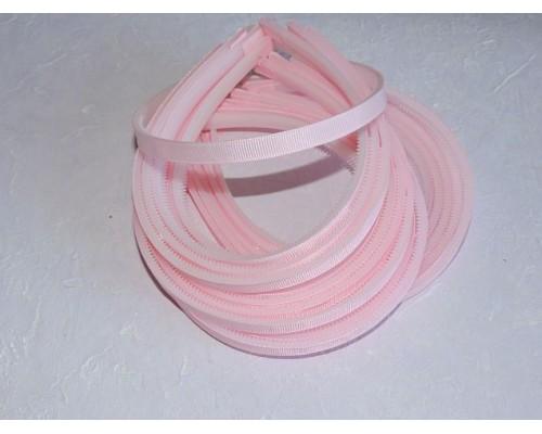 Ободок пластик  1 см, с ребсовой тканью, цв. светло-розовый - 1 шт.