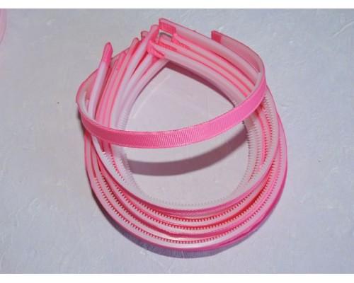 Ободок пластик  1 см, с репсовой тканью, цв. розовый - 1 шт.
