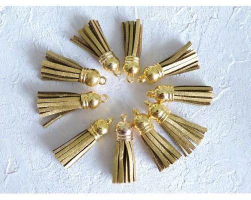 Кисточка замшевая с золотым колпачком 3,8 см, цв. золото - 1 шт.