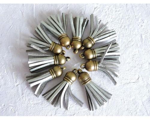 Кисточка замшевая с бронзовым  колпачком 3,8 см, цв. серебро - 1 шт.