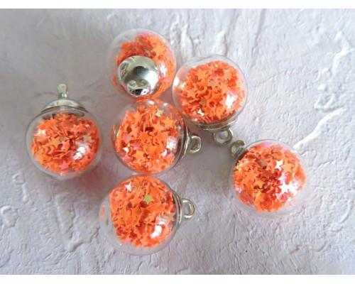 """Подвеска шарик с наполнителем """"Звездочка"""", цв. ярко-оранжевый - 1 шт."""