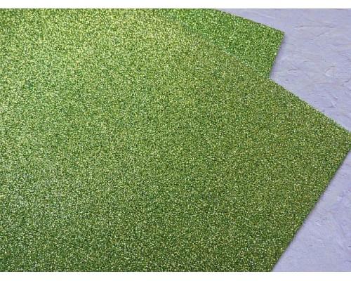 Фоамиран глиттерный 2мм (20*30см), цв. фисташковый - 1 лист