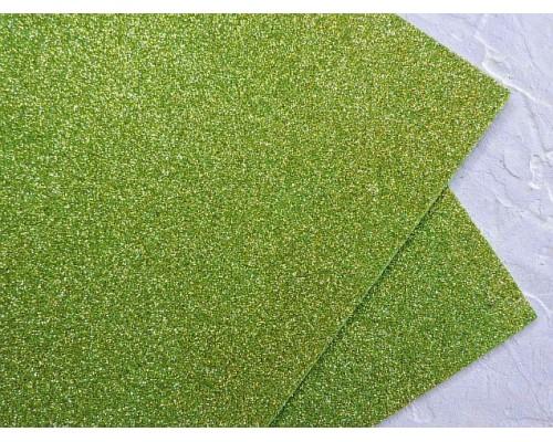 Фоамиран глиттерный 2мм (20*30см), цв. фисташковый 2 - 1 лист
