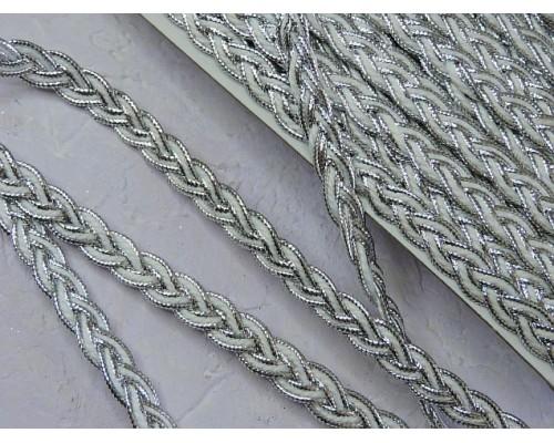 Тесьма косичка 10 мм, цв. серебро - 1 м.
