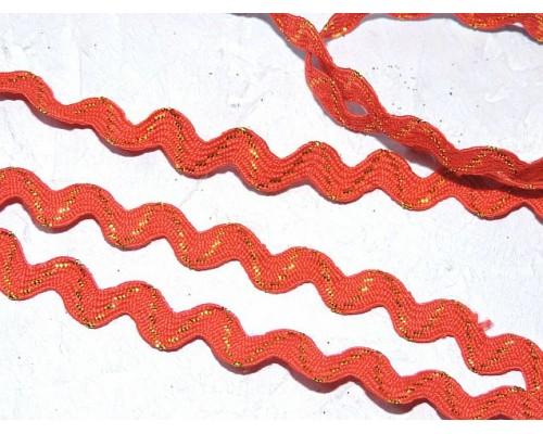 """Тесьма с люрексом """"Вьюнок"""" 0,6 см, цв. красный - 1 м."""