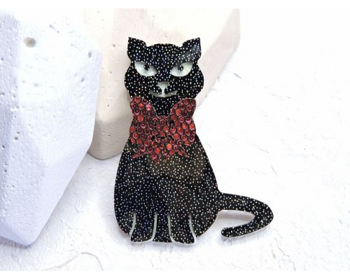 """Патч сборный """"Котик с бантиком"""", 50*40 мм, цв. черный - 1 шт."""