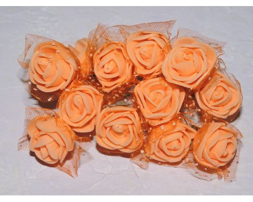 Розочка на веточке с сеточкой, 2.5 см-диаметр, цв. персиковый (12шт)