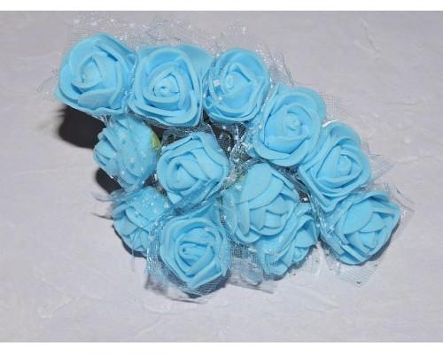 Розочка на веточке с сеточкой, 2.5 см-диаметр, цв. голубой (12шт)