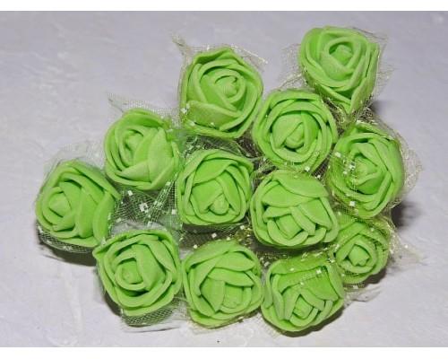 Розочка на веточке с сеточкой, 2.5 см-диаметр, цв. салатовый (12шт)