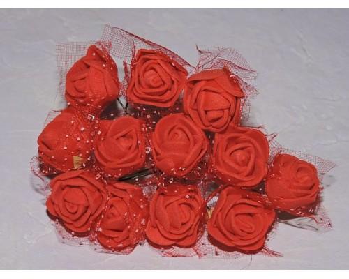 Розочка на веточке с сеточкой 12 шт, 2.5см-диаметр, цв. красный