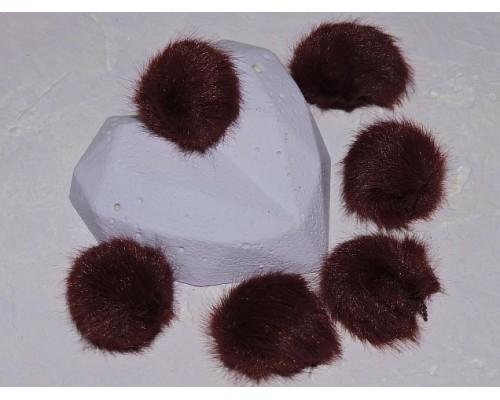 Помпон меховой, искусственный, цв. бордовый - 1 шт