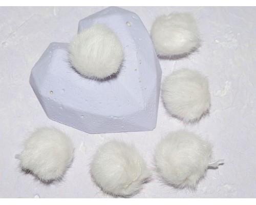 Помпон меховой, искусственный, цв. белый - 1 шт