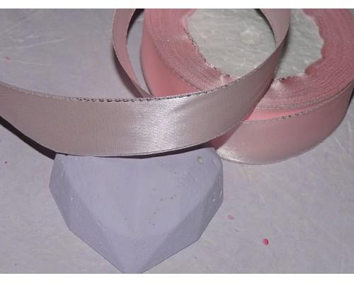 Лента атласная 25 мм,  с серебряным люрексом цв. розовый - 1 м