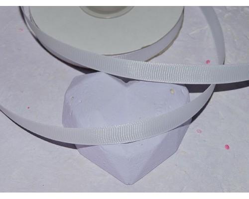 Репсовая лента 1 см,  цв. белый - 1 м