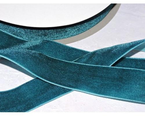 Лента бархатная 25 мм, цв.  зеленый - 1 м