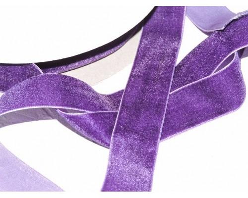 Лента бархатная 25 мм, цв.  темно-фиолетовый - 1 м