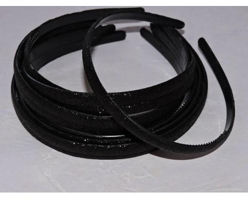 Ободок пластиковый с блестками 0,8 см,цв. черный - 1 шт