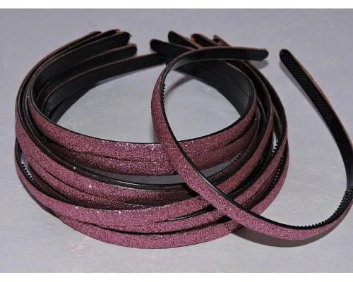 Ободок пластиковый с блестками 0,8 см,цв. розовый - 1 шт