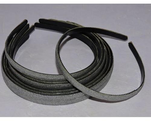 Ободок пластиковый с блестками 0,8 см,цв. серебро - 1 шт