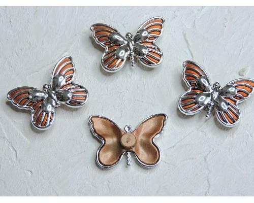"""Кабошон """"Бабочка маленькая"""" 3,8*3 см, цв. оранжевый/серебро 1 шт."""