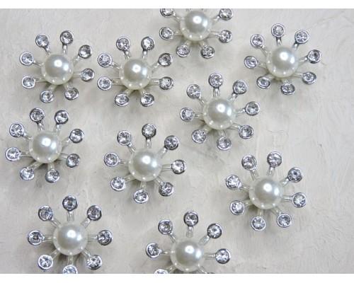 Кабошон флоризель пластик 24 мм, цв. серебро - 1 шт.