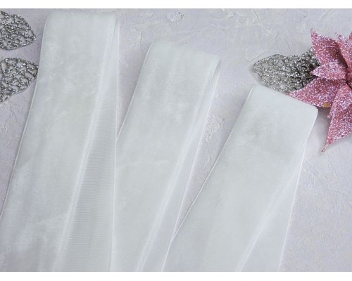 Лента бархатная 40 мм, цв. белый - 1 м.