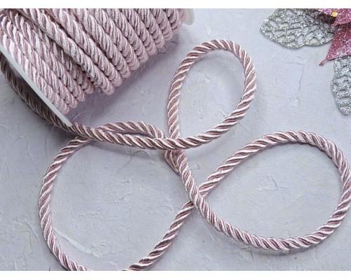 Шнур декоративный крученный 6 мм, цв. нежно-розовый  - 1 м.