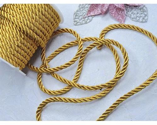 Шнур декоративный крученный 6 мм, цв. золото - 1 м.