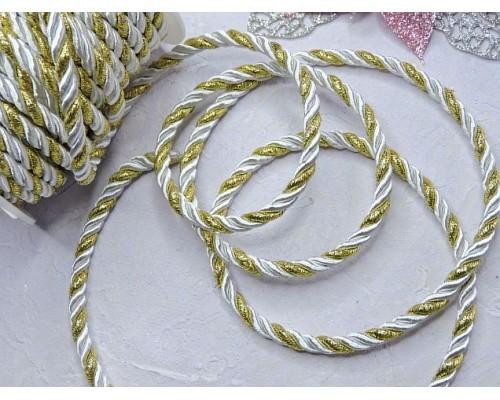 Шнур двухцветный 5 мм, цв. белый/золото - 1 м.