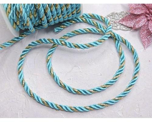 Шнур двухцветный 5 мм, цв. бирюзовый/золото - 1 м.
