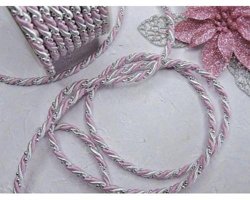Шнур двухцветный с бусинками 4 мм, цв. розовый/серебро - 1 м.