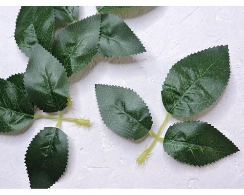 Листик розы 3шт. на веточке 13 см , цв. темно-зеленый - 1веточка.