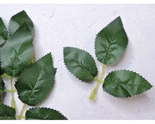 Листик розы 3шт. на веточке 10см , цв. темно-зеленый - 1веточка.