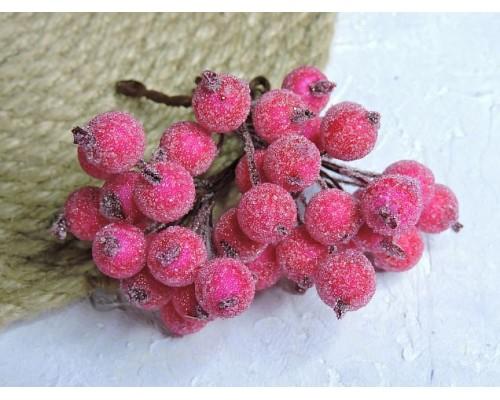 Ягодки на веточке сахарные 10 мм, цв. малиновый ( 12 ягод)