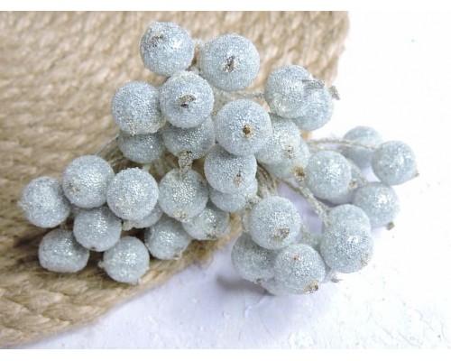 Ягодки на веточке сахарные 10 мм, цв. серебристые  ( 12 ягод)